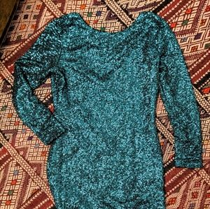 Dresses - Emerald green sequin cocktail bodycon dress long s